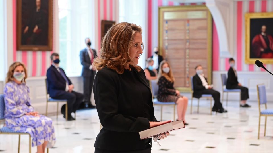 Chrystia Freeland is sworn in as Finance Minister during the swearing in ceremony following a cabinet shuffle at Rideau Hall in Ottawa on Tuesday, August 18, 2020. THE CANADIAN PRESS/Sean Kilpatrick