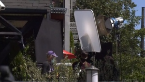 A film crew is seen shooting in Oak Bay amid the COVID-19 pandemic: Aug. 18, 2020 (CTV News)