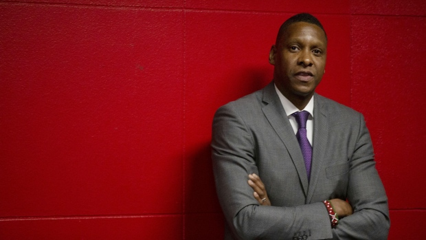 "Toronto Raptors President Masai Ujiri is seen in Toronto on Tuesday October 22, 2019. The Toronto Raptors issued a statement on Tuesday saying a recently released video proves team president Masai Ujiri wasn't the ""aggressor"" in an encounter with a law enforcement officer at Oracle Arena last June. THE CANADIAN PRESS/Chris Young"