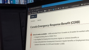 The landing page for the Canada Emergency Response Benefit is seen in Toronto, Monday, Aug. 10, 2020. THE CANADIAN PRESS/Giordano Ciampini