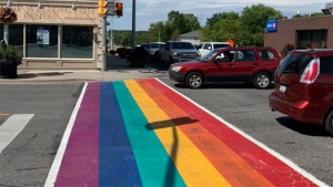 A permanent rainbow crosswalk is seen at Yonge Street and Wellington Road in Aurora after being unveiled Thursday August 20, 2020. (Pflag York Region /Facebook)