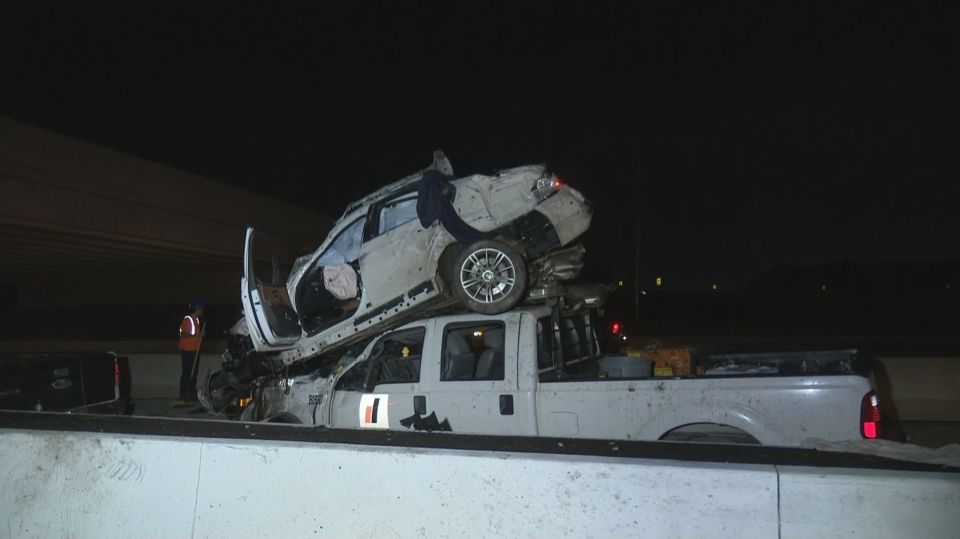 Police said the driver was speeding when the vehicle lost control on the westbound ramp of Hwy. 407 at Derry Road on Sunday night.