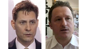Kovrig (left) and Spavor are shown in these 2018 images taken from video. THE CANADIAN PRESS/AP