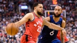 Toronto Raptors guard Fred VanVleet (23) moves past Minnesota Timberwolves guard Jordan McLaughlin (6) during first half NBA basketball action in Toronto on February 10, 2020. (THE CANADIAN PRESS/Frank Gunn)