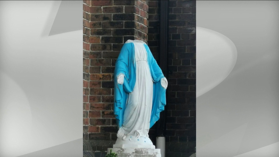The statue of the Virgin Mary at the Our Lady of Lebanon Church in Parkdale was vandalized. (Facebook)