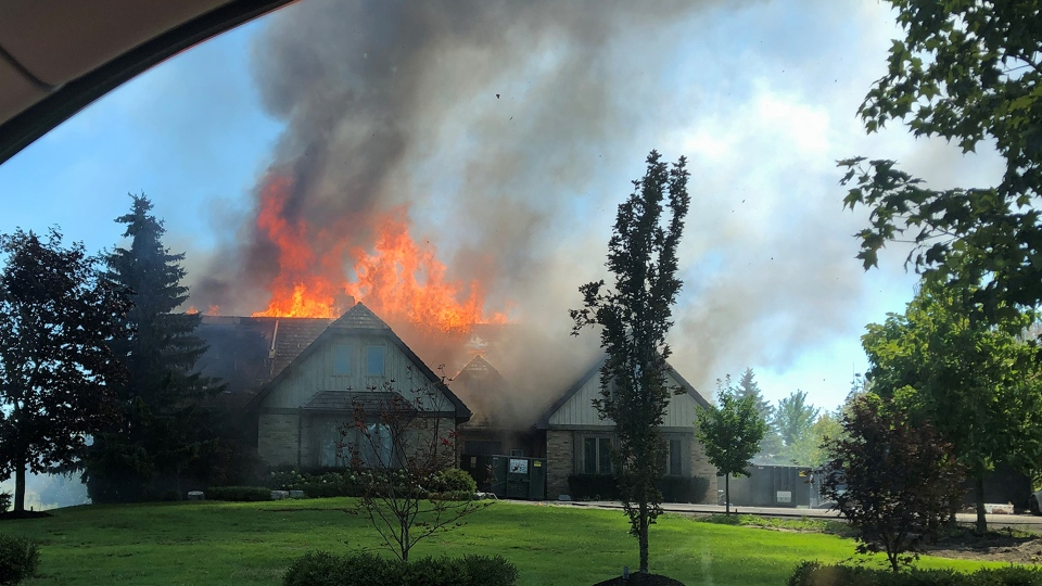 Fire tears through a home on Buggey Lane in Ajax Monday August 31, 2020. (Submitted)
