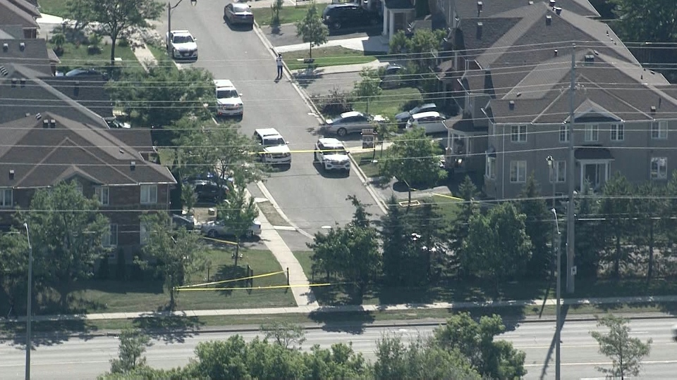 Police respond to a shooting in the area of Bovaird Drive and Chinguacousy Road in Brampton Monday August 31, 2020.