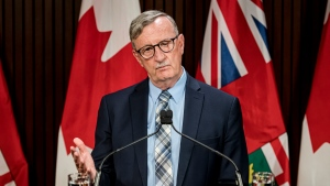 Dr. David Williams, Chief Medical Officer of Health for Ontario makes an announcement at Queen's Park in Toronto, on Thurs., Aug, 13, 2020. (THE CANADIAN PRESS/Christopher Katsarov)