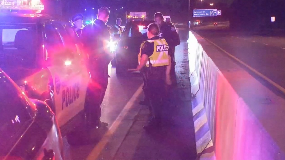 A 12-year-old boy is in some trouble after going for a joyride on the QEW overnight.