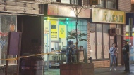 Six people are in hospital with serious injuries after an overnight drive-by shooting at a bakery on Eglinton Avenue.