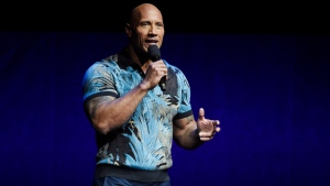 In this Wednesday, April 3, 2019, file photo, Dwayne 'The Rock' Johnson speaks during the Universal Pictures presentation at CinemaCon 2019, the official convention of the National Association of Theatre Owners (NATO) at Caesars Palace, in Las Vegas. (Photo by Chris Pizzello/Invision/AP, File)