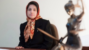 Iranian human rights lawyer Nasrin Sotoudeh, poses for a photograph in her office in Tehran, Iran on Nov. 1, 2008. The Canadian legal team for an imprisoned Iranian human rights lawyer is calling for federal sanctions and United Nations intervention as she wages a life-threatening hunger strike entering its 29th day. THE CANADIAN PRESS/AP, Arash Ashourinia