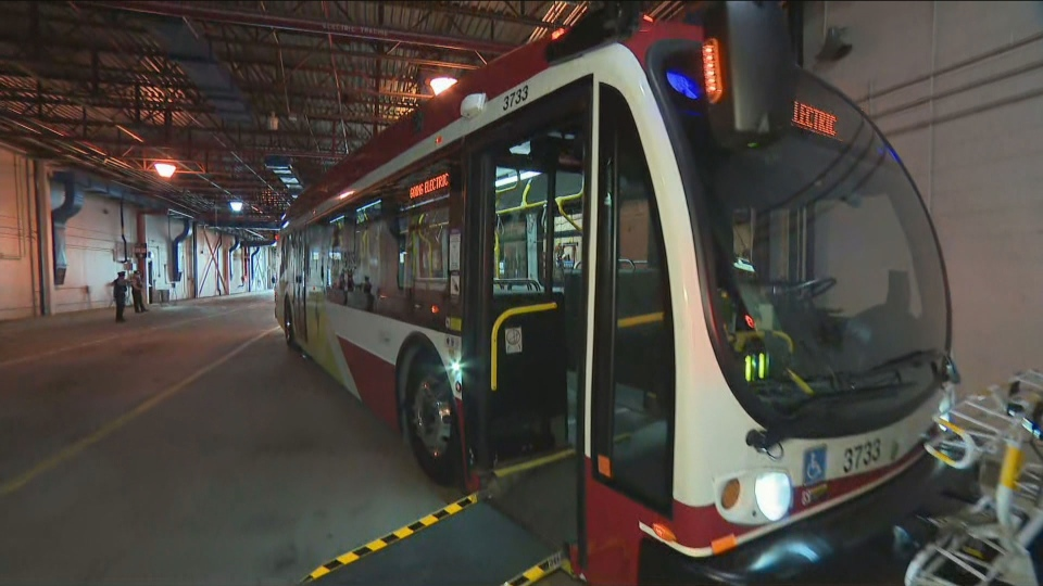 One of the TTC's newest electric buses is pictured Tuesday September 8, 2020.