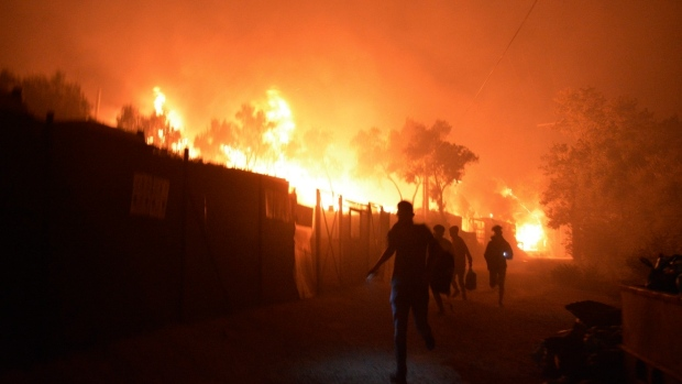 Fire breaks out in overcrowded Greek refugee camp