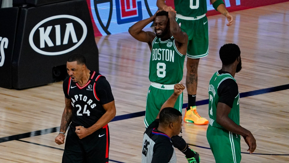 Toronto Raptors guard Norman Powell (24) celebrates after scoring and drawing a foul against the Boston Celtics during the second half of an NBA conference semifinal playoff basketball game Wednesday, Sept. 9, 2020, in Lake Buena Vista, Fla. (AP Photo/Mark J. Terrill)