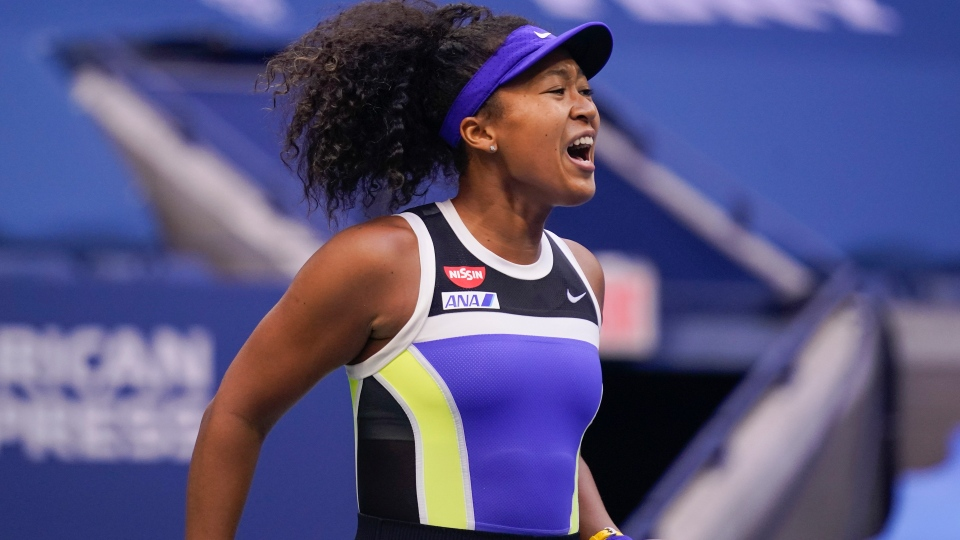 Naomi Osaka, of Japan, reacts during the women's singles final against Victoria Azarenka, of Belarus, during the US Open tennis championships, Saturday, Sept. 12, 2020, in New York. (AP Photo/Seth Wenig)