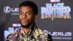 "In this Jan. 29, 2018 file photo, Chadwick Boseman, a cast member in ""Black Panther,"" poses at the premiere of the film in Los Angeles. (Photo by Chris Pizzello/Invision/AP, File)"