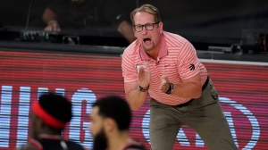 Toronto Raptors' head coach Nick Nurse reacts on the bench during the second half of an NBA conference semifinal playoff basketball game against the Boston Celtics Saturday, Sept. 5, 2020, in Lake Buena Vista, Fla. The Toronto Raptors have signed head coach Nick Nurse to a multi-year contract extension. THE CANADIAN PRESS/AP, Mark J. Terrill