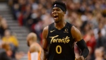 Toronto Raptors guard Terence Davis celebrates his three point basket against the Phoenix Suns during first half NBA basketball action in Toronto on Friday, Feb. 21, 2020. Davis has been named to the NBA's All-Rookie Second Team. THE CANADIAN PRESS/Frank Gunn