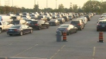 The lineup of cars waiting for a COVID-19 test is seen at the Humber College assessment centre at 7:40 a.m. on Sept. 17, 2020. (CP24)
