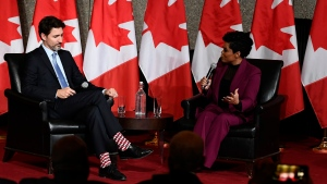 Prime Minister Justin Trudeau participates in a fireside discussion with broadcast journalist Marci Ien at a Black History Month reception at the National Arts Centre in Ottawa, on Monday, Feb. 24, 2020. THE CANADIAN PRESS/Justin Tang