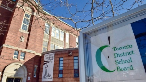 A Toronto District School Board logo is seen on a sign in front of a high school in Toronto, Tuesday, Jan. 30, 2018. THE CANADIAN PRESS/Frank Gunn