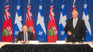 Ontario Premier Doug Ford stands alongside Quebec Premier Francois Legault, as he speaks to the media, at the start of the Ontario-Quebec Summit, in Toronto, on September 9, 2020. Four conservative-minded premiers are to issue today their wish list for next week's throne speech on which the fate of Justin Trudeau's minority Liberal government could hinge. Quebec's Francois Legault, Ontario's Doug Ford, Alberta's Jason Kenney and Manitoba's Brian Pallister plan to hold a news conference in Ottawa to spell out what they hope to see in the speech. THE CANADIAN PRESS/Chris Young