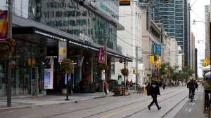 A view of King St. out front of Toronto International Film Festival's TIFF Bell Lightbox theatre in Toronto, ahead of the festival's opening night, Thursday, Sept. 10, 2020. THE CANADIAN PRESS/Cole Burston