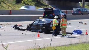 Police are on the scene of a fatal collision on Hwy. 401 near Pickering. (Ted Brooks/ CTV News Toronto)
