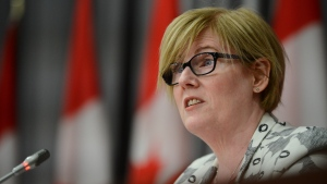 Minister of Employment, Workforce Development and Disability Inclusion Carla Qualtrough holds a press conference on Parliament Hill in Ottawa on Friday, July 17, 2020. THE CANADIAN PRESS/Sean Kilpatrick