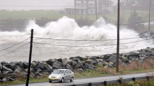 Waves hit the shore in Cow Bay, N.S. near Halifax on Tuesday, Oct. 30, 2012. The Canadian Hurricane Centre has posted an image of hurricane Teddy, indicating a track of the storm making possible landfall over the Maritimes early next week. The storm was listed by the centre as being in the Caribbean as of 5 a.m. local time today, with maximum wind speeds of over 200 kilometres per hour. THE CANADIAN PRESS/Andrew Vaughan