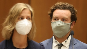 "Actor Danny Masterson stands with his attorney Sharon Appelbaum during his arraignment in Los Angeles Superior Court in Los Angeles, Friday, Sept. 18, 2020. ""That '70s Show"" actor Masterson was arraigned on three rape charges. (Lucy Nicholson/Pool Photo via AP)"
