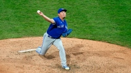 Toronto Blue Jays' Shun Yamaguchi pitches during the sixth inning of the second baseball game in a doubleheader against the Philadelphia Phillies, Friday, Sept. 18, 2020, in Philadelphia. (AP Photo/Matt Slocum)
