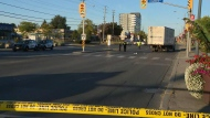 A pedestrian sustained life-threatening injuries after he was struck by a vehicle in Scarborough on Monday morning.