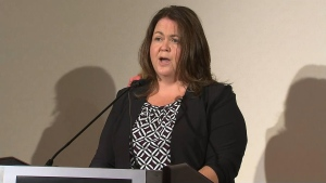 CUPE Ontario Secretary-Treasurer Candace Rennick speaks with reporters during a news conference on Monday.