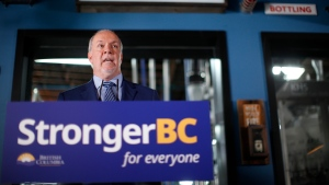 Premier John Horgan and Minister of Finance Carole James announce B.C.'s Economic Recovery Plan during a press conference at Phillips Brewery in Victoria, B.C., on Thursday September 17, 2020. THE CANADIAN PRESS/Chad Hipolito