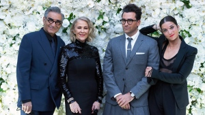 "The cast of ""Schitt's Creek"" Eugene Levy, left to right, Catherine O'Hara, Daniel Levy and Annie Murphy pose at their Emmy Awards celebration party in Toronto on Sunday, September 22, 2020 in this handout photo. THE CANADIAN PRESS/HO, Ana Sorys"