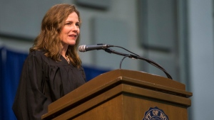 In this May 19, 2018, file photo, Amy Coney Barrett, United States Court of Appeals for the Seventh Circuit judge, speaks during the University of Notre Dame's Law School commencement ceremony at the university, in South Bend, Ind. (Robert Franklin/South Bend Tribune via AP, File)