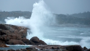Waves pound the shore in Peggy's Cove, N.S., on Tuesday, Sept. 22, 2020. Hurricane Teddy is expected to impact the Atlantic region starting mid-day as a post-tropical storm, bringing rain, wind and high waves. THE CANADIAN PRESS/Andrew Vaughan
