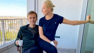 "In this photo published by Russian opposition leader Alexei Navalny on his Instagram account on Monday, Sept. 21, 2020, Russian opposition leader Alexei Navalny and his wife Yulia pose for a photo in a hospital in Berlin. Navalny on Monday demanded that Russia returned clothes he was wearing on the day he fell into a coma, calling it a ""crucial piece of evidence"" of a suspected nerve agent poisoning he is being treated for at the German hospital. (Navalny Instagram via AP)"