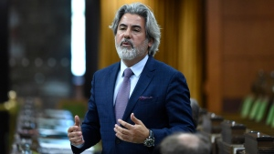 Leader of the Government in the House of Commons Pablo Rodriguez rises at a meeting of the Special Committee on the COVID-19 Pandemic in the House of Commons on Parliament Hill in Ottawa, on Monday, June 1, 2020. THE CANADIAN PRESS/Justin Tang