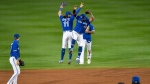 Toronto Blue Jays shortstop Bo Bichette (11) and second baseman Jonathan Villar, right, celebrate the team's 4-1 win over the New York Yankees in a baseball game in Buffalo, N.Y., Thursday, Sept. 24, 2020. Toronto clinched a postseason berth with the win. (AP Photo/Adrian Kraus)
