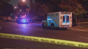 A man is dead and another is in hospital after a shooting near Shoreham Drive and Jane Street.