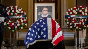 Justice Ruth Bader Ginsburg lies in state in Statuary Hall of the U.S. Capitol in Washington on Friday, Sept. 25, 2020. (Shawn Thew/Pool via AP)