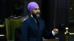 NDP Leader Jagmeet Singh rises during Question Period in the House of Commons on Parliament Hill in Ottawa on Friday, Sept. 25, 2020. THE CANADIAN PRESS/Justin Tang