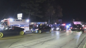 Large crowds at a car rally in Wasaga Beach has prompted the provincial police to close the town to non-residents on Saturday night. (CTV Barrie)