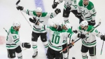 Dallas Stars right wing Corey Perry (10) celebrates his goal against the Tampa Bay Lightning with teammates during the second overtime period NHL Stanley Cup finals action in Edmonton on Saturday, September 26, 2020. THE CANADIAN PRESS/Jason Franson