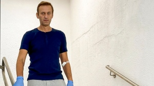 "In this photo taken from a video published by Russian opposition leader Alexei Navalny on his instagram account, Russian opposition leader Alexei Navalny walks down stairs in a hospital in Berlin, Germany, Saturday, Sept. 19, 2020. The German hospital treating Russian opposition leader Alexei Navalny for poisoning says his condition improved enough for him to be released from the facility. The Charite hospital in Berlin said Wednesday Sept. 23, 2020 that after 32 days in care, Navalny's condition ""improved sufficiently for him to be discharged from acute inpatient care."" (Navalny Instagram via AP)"