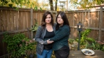 Kristy Kokoski, left, and Louise Frame, pose for a photograph near their home in Hamilton, Ont., on Sunday, September 27, 2020. Seven Canadian families are suing an Ontario sperm bank, alleging they were misled about their donor's background, including a potentially debilitating genetic condition. THE CANADIAN PRESS/ Tijana Martin