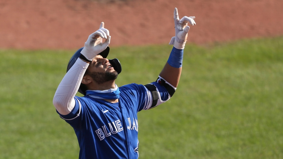 Toronto Blue Jays' Lourdes Gurriel Jr. celebrates his two-run home run against Baltimore Orioles pitcher Keegan Akin during the third inning of a baseball game, Sunday, Sept. 27, 2020, in Buffalo, N.Y. (AP Photo/Jeffrey T. Barnes)